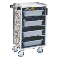 Lakeside 890-01 Medium-Duty Stainless Steel Enclosed Bussing Cart with Ledge Rods and Gray Sand Finish - 17 5/8 inch x 27 3/4 inch x 42 7/8 inch