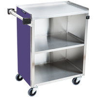 Lakeside 610P Standard-Duty Stainless Steel Three Shelf Utility Cart with Enclosed Base and Purple Laminate Finish - 16 1/2 inch x 27 3/4 inch x 32 3/4 inch