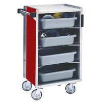 Lakeside 890RD Medium-Duty Stainless Steel Enclosed Bussing Cart with Ledge Rods and Red Finish - 17 5/8 inch x 27 3/4 inch x 42 7/8 inch