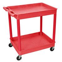 Luxor / H. Wilson RDTC11RD Red 2 Tub Utility Cart - 24 inch x 32 inch x 37 1/2 inch