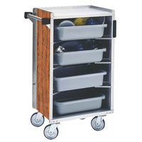 Lakeside 890-02 Medium-Duty Stainless Steel Enclosed Bussing Cart with Ledge Rods and Victorian Cherry Finish - 17 5/8 inch x 27 3/4 inch x 42 7/8 inch
