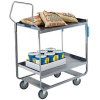 Lakeside 4743 Handler Series Stainless Steel Two Shelf Heavy-Duty Utility Cart - 22 3/8 inch x 38 5/8 inch x 49 1/8 inch