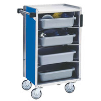 Lakeside 890BL Medium-Duty Stainless Steel Enclosed Bussing Cart with Ledge Rods and Royal Blue Finish - 17 5/8 inch x 27 3/4 inch x 42 7/8 inch