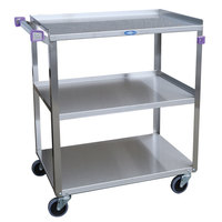 Lakeside 444A Medium-Duty Stainless Steel Three Shelf Utility Cart with Purple Handle and Leg Bumpers - 22 3/8 inch x 39 1/4 inch x 37 1/4 inch