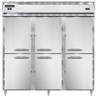 Continental DL3RFF-PT-HD 78 inch Solid Half Door Dual Temperature Pass-Through Refrigerator/Freezer/Freezer