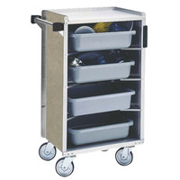 Lakeside 890-09 Medium-Duty Stainless Steel Enclosed Bussing Cart with Ledge Rods and Beige Suede Finish - 17 5/8 inch x 27 3/4 inch x 42 7/8 inch