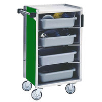 Lakeside 890-G Medium-Duty Stainless Steel Enclosed Bussing Cart with Ledge Rods and Green Finish - 17 5/8 inch x 27 3/4 inch x 42 7/8 inch