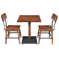 Lancaster Table & Seating 24 inch Square Antique Walnut Solid Wood Live Edge Dining Height Table with 2 Chairs
