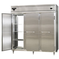 Continental DL3RFF-SS-PT 78 inch Solid Door Dual Temperature Pass-Through Refrigerator/Freezer/Freezer