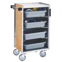 Lakeside 890LM Medium-Duty Stainless Steel Enclosed Bussing Cart with Ledge Rods and Light Maple Finish - 17 5/8 inch x 27 3/4 inch x 42 7/8 inch