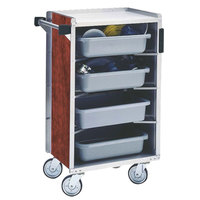 Lakeside 890-04 Medium-Duty Stainless Steel Enclosed Bussing Cart with Ledge Rods and Red Maple Finish - 17 5/8 inch x 27 3/4 inch x 42 7/8 inch