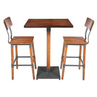 Lancaster Table & Seating 24 inch x 30 inch Antique Walnut Solid Wood Live Edge Bar Height Table with 2 Bar Chairs