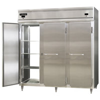 Continental DL3RRF-SS-PT 78 inch Solid Door Dual Temperature Pass-Through Refrigerator/Refrigerator/Freezer
