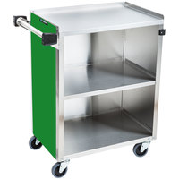 Lakeside 610G Standard-Duty Stainless Steel Three Shelf Utility Cart with Enclosed Base and Green Laminate Finish - 16 1/2 inch x 27 3/4 inch x 32 3/4 inch