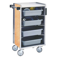 Lakeside 890-03 Medium-Duty Stainless Steel Enclosed Bussing Cart with Ledge Rods and Hard Rock Maple Finish - 17 5/8 inch x 27 3/4 inch x 42 7/8 inch