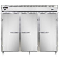 Continental DL3RFFES 86 inch Solid Door Extra-Wide, Shallow Depth Dual Temperature Reach-In Refrigerator/Freezer/Freezer
