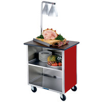 Lakeside 626RD Heavy-Duty Stainless Steel Three Shelf Flat Top Utility Cart with Enclosed Base and Red Finish - 18 3/4 inch x 28 1/4 inch x 32 5/8 inch