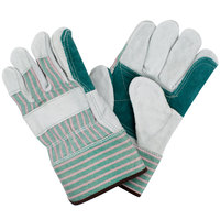 Men's Striped Canvas Double Palm Work Gloves with Select Shoulder Split Leather Palm Coating and 2 1/2 inch Rubber Cuffs - Large - Pair