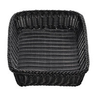 Tablecraft M2493 Black Rectangular Rattan Basket 19 inch x 14 inch x 4 inch