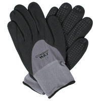 Conquest Max Gray Nylon / Spandex Gloves with Black Foam Nitrile / Polyurethane Hand Coating and Nitrile Dots - Large - Pair - 12/Pack
