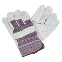 Striped Canvas Work Gloves with Shoulder Split Leather Palm Coating and 2 1/2 inch Starched Cuffs - Large - Pair