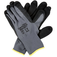 Cor-Touch Sand Grip Gray Polyester / Nylon Grip Gloves with Black Sandy Nitrile Palm Coating - Large - Pair - 12/Pack