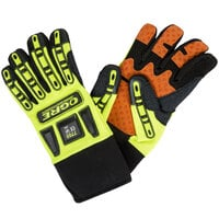 OGRE Hi-Vis Lime Spandex Gloves with Orange Synthetic Leather Palm, Silicone Grip, and TRP Reinforcements - Large - Pair