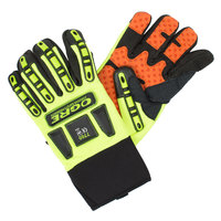 OGRE Hi-Vis Lime Spandex Gloves with Orange Synthetic Leather Palm, Silicone Grip, and TRP Reinforcements - Extra Large - Pair