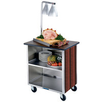 Lakeside 626RM Heavy-Duty Stainless Steel Three Shelf Flat Top Utility Cart with Enclosed Base and Red Maple Finish - 18 3/4 inch x 28 1/4 inch x 32 5/8 inch