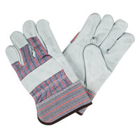 Striped Canvas Work Gloves with Premium Shoulder Split Leather Palm Coating and 2 1/2 inch Rubber Cuffs - Large - Pair