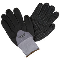 Conquest Max Gray Nylon / Spandex Gloves with Black Foam Nitrile / Polyurethane Hand Coating and Nitrile Dots - Extra Large - Pair   - 12/Pack
