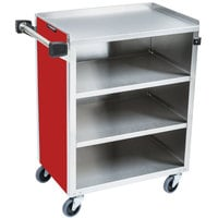 Lakeside 615RD Standard-Duty Stainless Steel Four Shelf Utility Cart with Enclosed Base and Red Finish - 16 1/2 inch x 27 3/4 inch x 32 3/4 inch