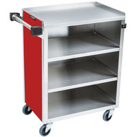 Lakeside 615-R Standard-Duty Stainless Steel Four Shelf Utility Cart with Enclosed Base and Red Finish - 16 1/2 inch x 27 3/4 inch x 32 3/4 inch