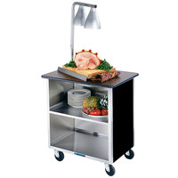 Lakeside 626B-05 Heavy-Duty Stainless Steel Three Shelf Flat Top Utility Cart with Enclosed Base and Black Finish - 18 3/4 inch x 28 1/4 inch x 32 5/8 inch