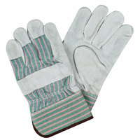 Pink / Green Striped Canvas Work Gloves with Shoulder Split Leather Palm Coating and 2 1/2 inch Starched Cuffs - Large - Pair