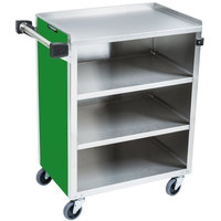 Lakeside 615G Standard-Duty Stainless Steel Four Shelf Utility Cart with Enclosed Base and Green Finish - 16 1/2 inch x 27 3/4 inch x 32 3/4 inch