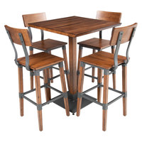 Lancaster Table & Seating 30 inch Square Antique Walnut Solid Wood Live Edge Bar Height Table with 4 Bar Chairs