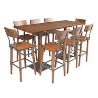 Lancaster Table & Seating 30 inch x 72 inch Antique Walnut Solid Wood Live Edge Bar Height Table with 8 Bar Chairs