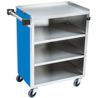 Lakeside 615-RB Standard-Duty Stainless Steel Four Shelf Utility Cart with Enclosed Base and Royal Blue Finish - 16 1/2 inch x 27 3/4 inch x 32 3/4 inch