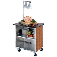Lakeside 626VC Heavy-Duty Stainless Steel Three Shelf Flat Top Utility Cart with Enclosed Base and Victorian Cherry Finish - 18 3/4 inch x 28 1/4 inch x 32 5/8 inch
