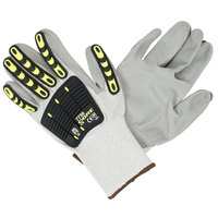 OGRE-CR Salt and Pepper HPPE Gloves with Gray Polyurethane Palm Coating and TPR Reinforcements -Extra Large - Pair