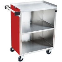 Lakeside 610RD Standard-Duty Stainless Steel Three Shelf Utility Cart with Enclosed Base and Red Finish - 16 1/2 inch x 27 3/4 inch x 32 3/4 inch