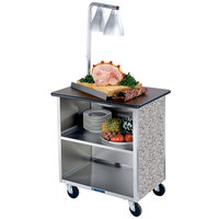 Lakeside 626GS Heavy-Duty Stainless Steel Three Shelf Flat Top Utility Cart with Enclosed Base and Gray Sand Finish - 18 3/4 inch x 28 1/4 inch x 32 5/8 inch