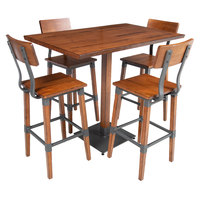 Lancaster Table & Seating 30 inch x 48 inch Antique Walnut Solid Wood Live Edge Bar Height Table with 4 Bar Chairs