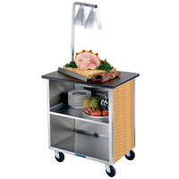 Lakeside 626LM Heavy-Duty Stainless Steel Three Shelf Flat Top Utility Cart with Enclosed Base and Light Maple Finish - 18 3/4 inch x 28 1/4 inch x 32 5/8 inch