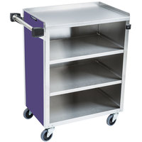Lakeside 615-P Standard-Duty Stainless Steel Four Shelf Utility Cart with Enclosed Base and Purple Finish - 16 1/2 inch x 27 3/4 inch x 32 3/4 inch