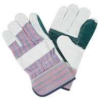 Men's Striped Canvas Double Palm Work Gloves with Shoulder Split Leather Palm Coating and 2 1/2 inch Rubber Cuffs - Extra Large - Pair