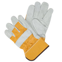 Yellow Canvas Work Gloves with Shoulder Split Leather Palm Coating and 2 1/2 inch Starched Cuffs - Extra Large - Pair