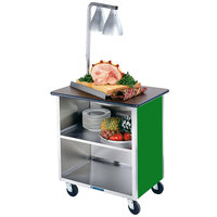 Lakeside 626G Heavy-Duty Stainless Steel Three Shelf Flat Top Utility Cart with Enclosed Base and Green Finish - 18 3/4 inch x 28 1/4 inch x 32 5/8 inch