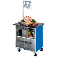 Lakeside 626BL Heavy-Duty Stainless Steel Three Shelf Flat Top Utility Cart with Enclosed Base and Royal Blue Finish - 18 3/4 inch x 28 1/4 inch x 32 5/8 inch